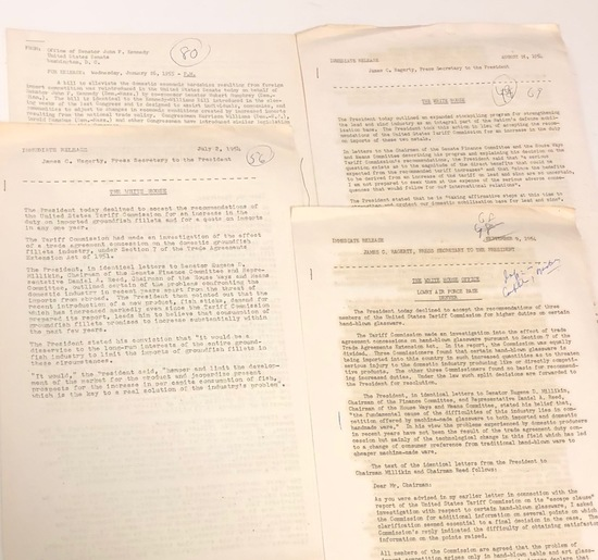 Collection of PRESIDENTIAL Press Releases from JOHN F. KENNEDY and EISENHOWER