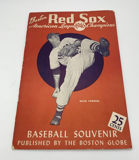 RARE Boston Red Sox 1946 American League Champion Baseball Souvenir with POSTER w/ TED WILLIAMS