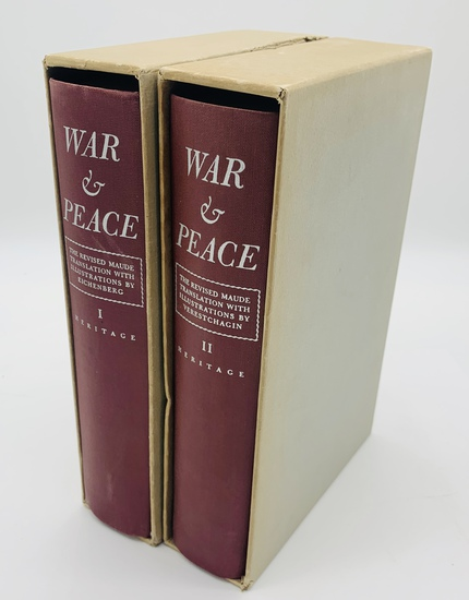 WAR AND PEACE by Leo Tolstoy - Heritage Press Two Volume Set with Slipcase (1938)