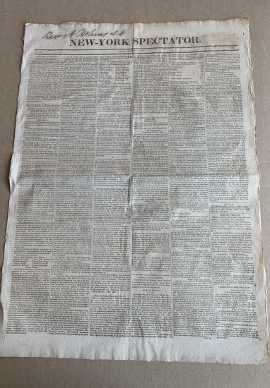 1817 New York Newspaper with JAMES MONROE State of the Union