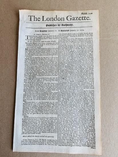 The LONDON GAZETTE January 31st 1712