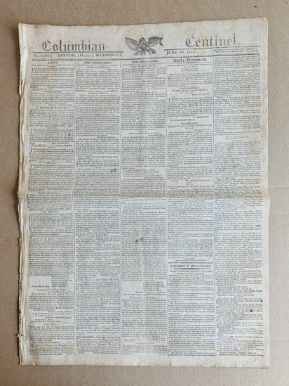 WAR OF 1812 NEWSPAPER Boston - WAR to be DECALARED