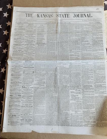 1862 Kansas CIVIL WAR NEWSPAPER