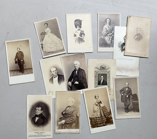 LARGE COLLECTION of c.1865 CDV carte de visite Photo Cards Including TWO CIVIL WAR SOLDIERS