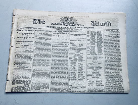 CIVIL WAR NEWSPAPER New York NY (1862) Army of the Portmac - Jefferson Davis