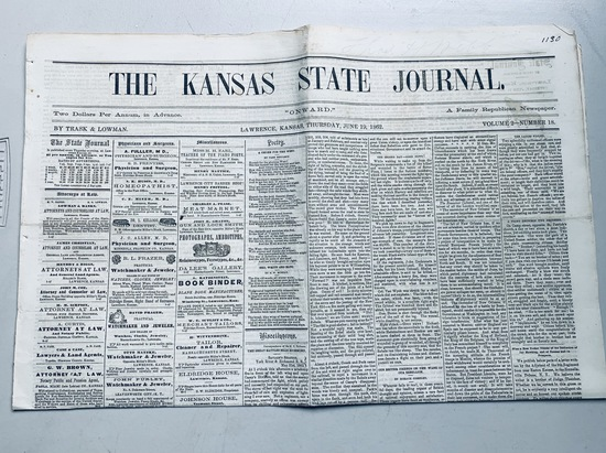 CIVIL WAR NEWSPAPER Lawrence Kansas (1862) CIVIL WAR BATTLES