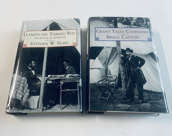 TWO Civil War Books - GRANT TAKES COMMAND & LANDSCAPE TURNED RED Battle of Antietam
