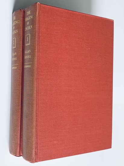 SIGNED The Emergence of Lincoln (1950) by Allan Nevins - Two Volumes