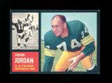 1962 Topps Football Card Scarce Short Print #72 Hall of Famer Hank Jordan G