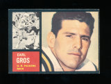 1962 Topps Football Card Scarce Short Print #74 Earl Gros Green Bay Packers