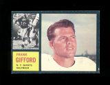 1962 Topps Football Card #104 Hall of Famer Frank Gifford New York Giants.