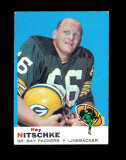 1969 Topps Football Card #55 Hall of Famer Ray Nitschke Green Bay Packers.