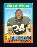 1971 Topps Football Card #55 Hall of Famer Willie Wood Green Bay Packers. V
