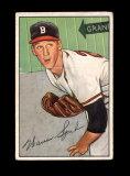 1952 Bowman Baseball Card #156 Hall of Famer Warren Spahn Boston Braves.  E