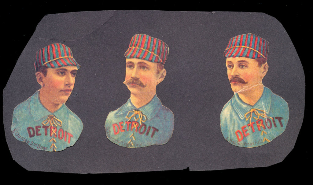 (3) 1888 Scrapps Diecut Tobacco Cards. Glued to Piece of Scrapbook Page.