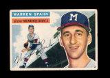1956 Topps Baseball Card #10 Hall of Famer Warren Spahn Milwukee Braves. VG