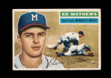 1956 Topps Baseball Card #107 Hall of Famer Eddie Mathews Milwaukee Braves.