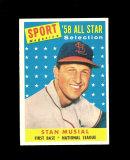 1958 Topps All Star Baseball Card #476 Hall of Famer Stan Musial St Louis C