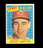 1958 Topps All Star Baseball Card #478 Johnny Temple Cincinnati Redlegs.  E