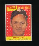 1958 Topps All Star Baseball Card #479 Hall of Famer Nellie Fox Chicago Whi