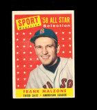 1958 Topps All Star Baseball Card #481 Frank Malzone Boston Red Sox. EX to