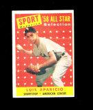 1958 Topps All Star Baseball Card #483 Hall of Famer Luis Aparicio Chicago