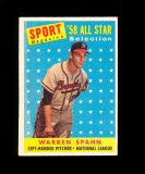 1958 Topps All Star Baseball Card #494 Hall of Famer Warren Spahn Milwaukee