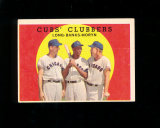 1959 Topps Baseball Card #147 Cubs Clubbers Long, Banks, Moryn . EX to EX-M
