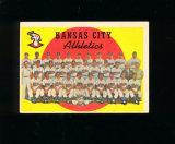 1959 Topps Baseball Card #172 CheckList/Kansas City Athletics Team. EX to E