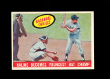 1959 Topps Baseball Card #463 Kaline Becomes Youngest Batting Champ. EX to