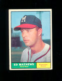 1961 Topps Baseball Card #120 Hall of Famer Eddie Mathews Milwaukee Braves