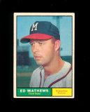 1962 Topps Baseball Card #120 Hall of Famer Eddie Mathews Milwaukee Braves