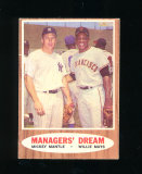 1962 Topps Baseball Card #18 Managers Dream Mantle-Mays. EX to EX-MT Condit