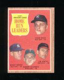 1962 Topps Baseball Card #53 American League 1961 Home Run Leaders Maris, M