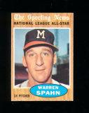 1962 Topps Baseball Card #399 Hall of Famer Warren Spahn Milwaukee Braves.
