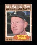 1962 Topps Baseball Card #475 Hall of Famer Whitey Ford American All-Star.