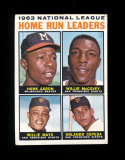 1964 Topps Baseball Card #9 National League 1963 Home Run Leaders Aaron, Mc