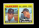 1967 Topps Baseball Card #93 Yankees Rookie Stars 1967 Bahnsen-Murcer. EX t