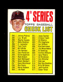 1967 Topps Baseball Card #278 CheckList (Jim Kaat). EX to EX-MT Condition.