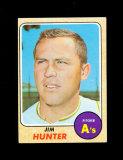 1968 Topps Baseball Card #385 Hall of Famer Jim Hunter Oakland As. EX to EX