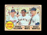 1968 Topps Baseball Card #490 Super-Stars Killebew, Mantle, Mays. Has tape