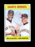1969 Topps Baseball Card #572 Giant Heros McCovey & Marichal. EX-MT to NM C