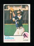 1973 Topps Baseball Card #100 Hall of Famer Hank Aaron Atlanta Braves. EX t