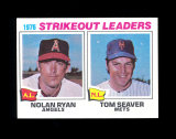1977 Topps Baseball Card #6 Strikeout Leaders in 1976 Ryan and Seaver. NM t