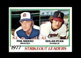 1978 Topps Baseball Card #206 Strikeout Leaders in 1977 Ryan and Niekro. NM