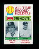 1979 Topps Baseball Card #417 All-Time Strikeout Leaders Nolan Ryan and Wal