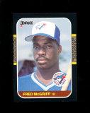 1987 Donruss Baseball Card #621. Fred McGriff Toronto Bluejays NM to NM-MT+