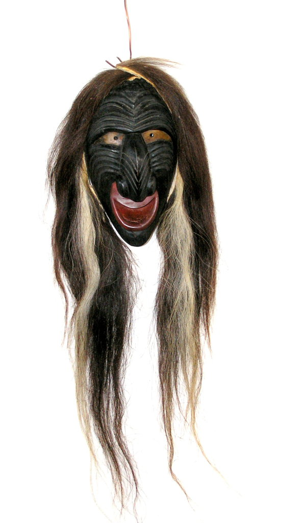 Vintage Iroquois False Face Mask including Tobbacco Pouches to Feed The Mas