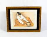 Print of Native American Artist R.C. Gorman's Painting Titled The