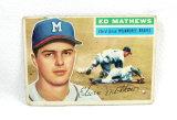 1956 Topps Baseball Card # 107 Eddie Mathews.